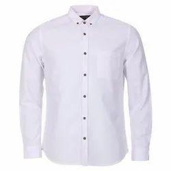 White Mens Collar Neck Cotton Shirt
