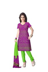 Magenta And Parrot Green Color Fancy Design Gaji Silk Bandhani Suit