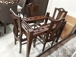 Brown 4 Seater Dining Table Set