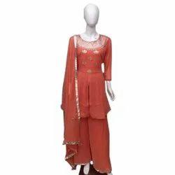 Stitched Ladies Party Wear Georgette Palazzo Suit, Machine Wash
