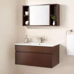 Wall Mounted Wooden Bathroom Vanity, Size: Adjustable