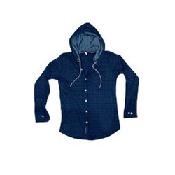 Mens Cotton Hooded Check Shirt