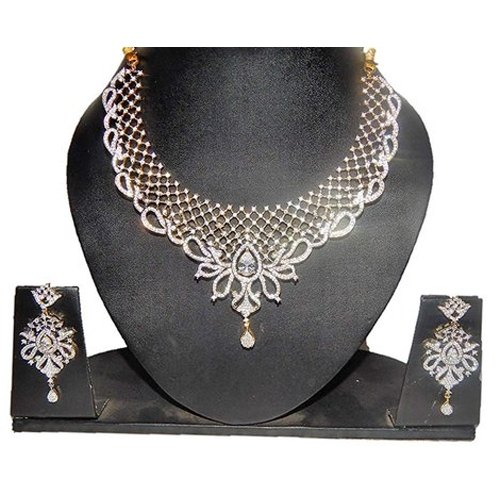 Silver Party American Diamond Cz Zircon Fashion Jewellery Set