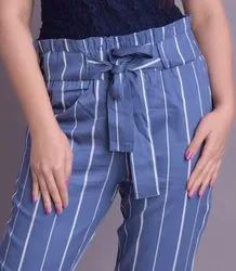 Viscose Striped Blue Trouser with Knot