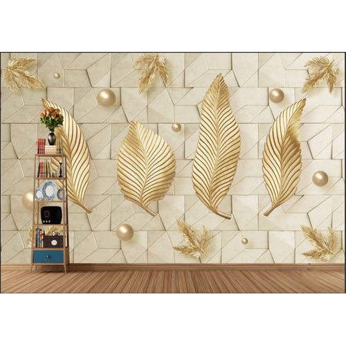Non-Woven Leaf Design Living Room Wallpaper, Shape: Horizontal, Rs ...