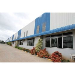 Blue And White Mild Steel Pre Engineered Building
