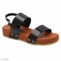 Sole- Tpr Heel Dimension 3 Cm Uk/ind Size 4 And 40 Women Ladies Black Sandal