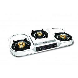 Stainless Steel Three Burner Gas Stove, for Kitchen