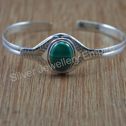 925 Solid Silver Jewelry Bangles Free Size Malachite Stone