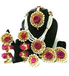 Magenta Flower Gota Patti Jewelry Set With Earrings Maang Tika