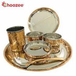 Choozee - Copper Thali Set (7 Pcs) of Plate, Bowl, Spoon & Glass