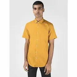 Green Hill Men's Solid Casual Mustard Half Sleeve Shirt
