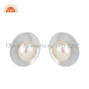 White Rhodium Plated Silver Pearl Gemstone Stud Earrings Jewelry
