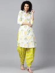 Off White Printed 3/4th Sleeve Cotton Kurta With Green Printed Patialla Salwar