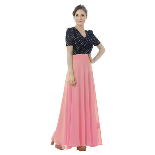 703ebcc47b9 Party Blue And Pink Ladies Stylish Maxi Dress