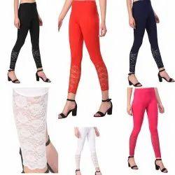 Net, Cotton Straight Fit Ladies Half Net Legging