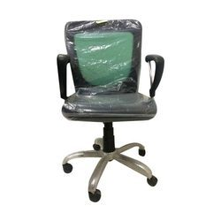 Synthetic Leather Black and Green Visitor Chair