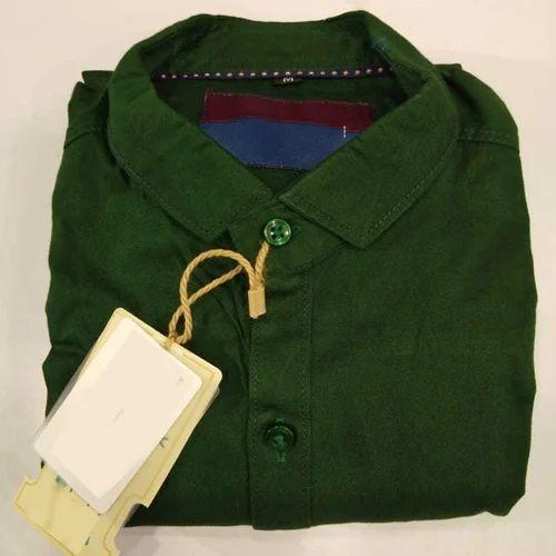 Dark Green Plain Mens Fancy Cotton Shirt Rs 325 Piece Rewa Heart Id 20164362462