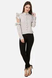 Full Sleeves Party Wear Women Ruffle Stripe Shirt