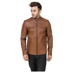 Medium And XL Brown Mens Leather Jacket
