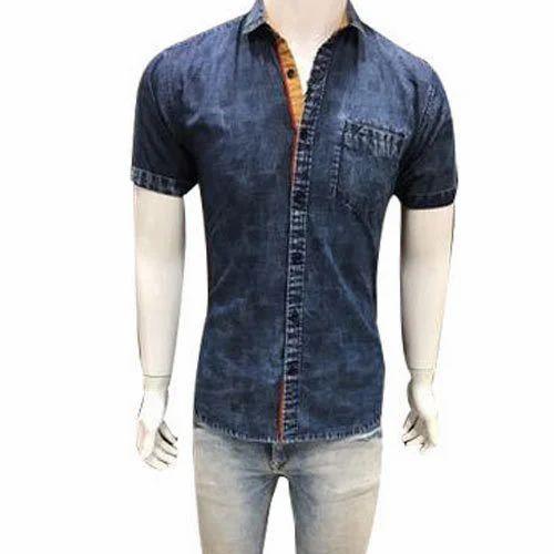 170ccbdd2b2d 38 To 44 Party Wear Mens Denim Blue Half Shirt, Rs 220 /piece | ID ...