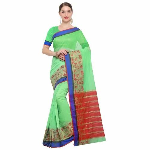 Green Colored Chanderi Silk Casual Saree