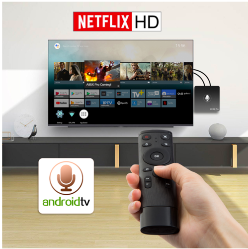 95X Pro Android TV OS 2GB/16GB Netflix 720P Youtube 4K Amlogic S905W 4K TV  Box with Voice Remote