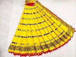Bagru Hand Block Print Pom Pom Lace Cotton Mulmul Saree