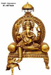 Brass baba n p singh art ind ganesh singhasan statue