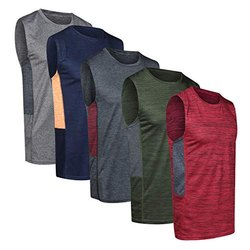 Cut Sleeves Sleeveless Dry Fit Active Round Neck Sport T Shirt