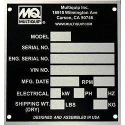 Ash G Aluminium Industrial 3 Phase Motor Name Plate Packaging Type