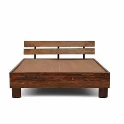 Wooden Modern Solid Wood Bed, For Home, Size: 159 (l) X 204 (w) X 90 (h) Cm