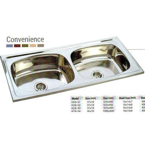 Marvel Silver Double Bowl Kitchen Sink Size 37x18x8 And 40x20x8 Inch