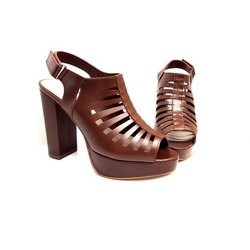 Heels Brown Hype Gladiator Sandal, Size: 5-9
