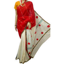 Ladies Cotton Applique Saree, Length: 6.3 m