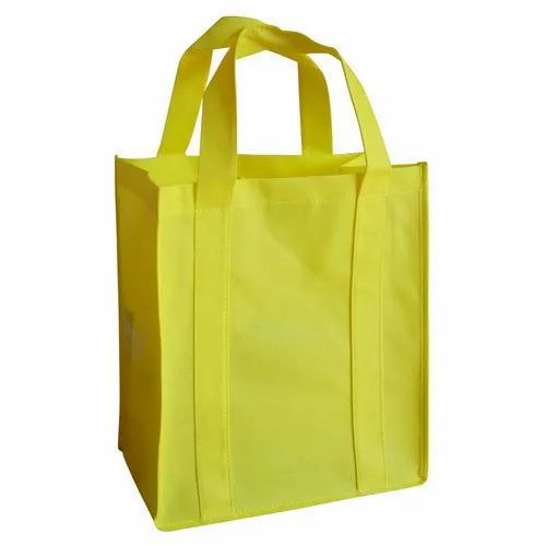 Yellow Loop Handle Non Woven Carry Bag