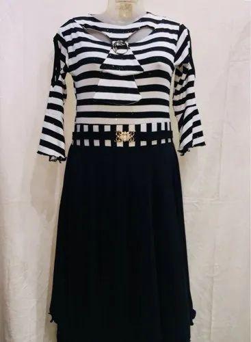 c3eab6ba0762 Ladies Full Sleeves Stylish Black And White Midi Dress, Size: XL, Rs ...