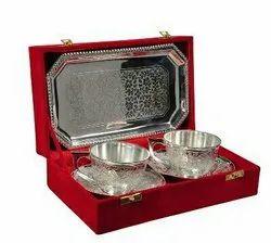 Silver Plated Cup & Saucer Set 5 Pcs. (Cup 3 Diameter, Saucer 5 Diameter & Tray 9.5x5.5)