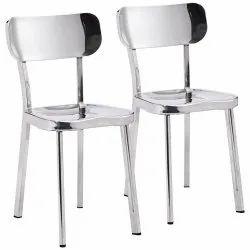Adhishri Silver Stainless Steel Dining Chair, For Restaurant