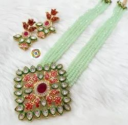Cl Jewellery Meenakari Kundan Handmade Crystal Beads Customised Costume Jewellery Necklace Set