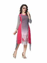Casual Wear Georgette Printed Designer Long Kurti, Size: XL