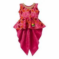 Geometrical Foil Print Banglori Silk Sleeveless Peplum Dhoti Set For Girls - Pink