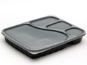 Plastic Meal Tray Black Disposable 4 Compartments