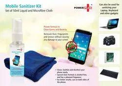Power Plus Mobile Sanitizer Kit (Set Of 50ml Liquid And Microfibre Cloth)