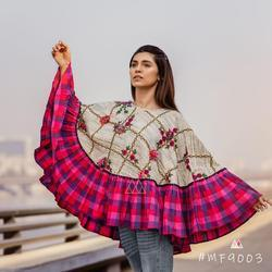 Designer Embroidery Cape With Colorful Check Frill and 3D Flowers Ponchos