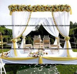 White Theme Fabric Wedding Mandap