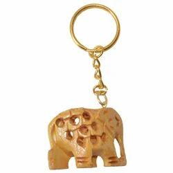 Wooden Undercut Elephant Keychain