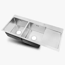 Handmade Double Bowl with Drain Board Stainless Steel Sink