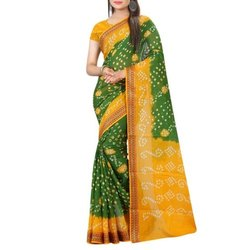 Resham Border Gulty Bandhej  Ladies Saree