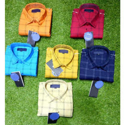 Cotton Slim Fit Casual Check Shirt, Size: XL